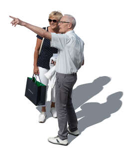 cut out older man and woman standing and pointing at smth