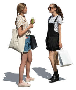 two cut out young women with shopping bags standing and talking