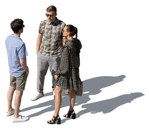 cut out group of three people standing seen from above