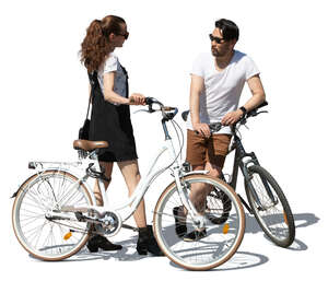 cut out man and woman with bicycles standing and talking