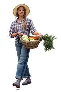 cut out woman walking and carrying a vagetable basket