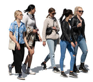 cut out group of teenage girls walking