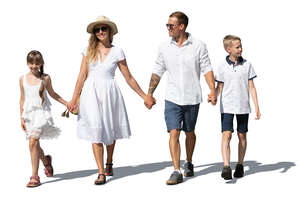cut out family with two kids in white summer clothes walking hand in hand