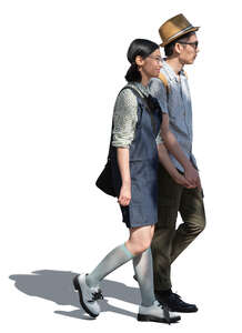 cut out asian couple walking hand in hand in tree shadow