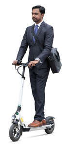 cut out businessman riding a white elecrtric scooter