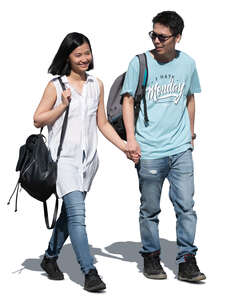 cut out asian couple walking hand in hand