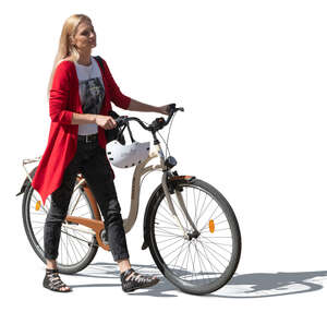 cut out woman walking while pushing a bike