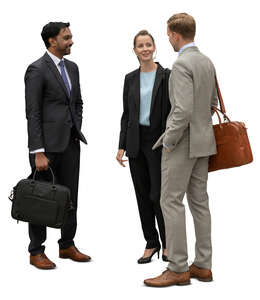 cut out group of three businesspeople standing and talking