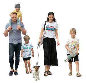 cut out family with three kids and a dog walking