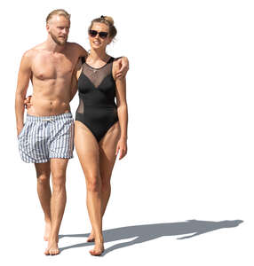 cut out couple in bathing suits walking