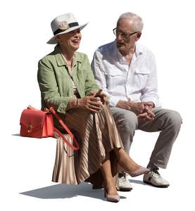 cut out elderly man and woman sitting and talking