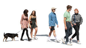 cut out group of young people walking