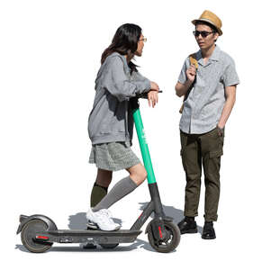 cut out woman with a scooter standing and talking to a friend