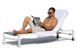 cut out man sunbathing on a beach chair and reading a magazine