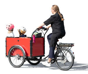 cut out mother and three kids riding a family cargo bike
