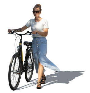 cut out woman with a bicycle walking in a tree shade