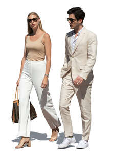 cut out posh man and woman in white summer clothes walking and talking