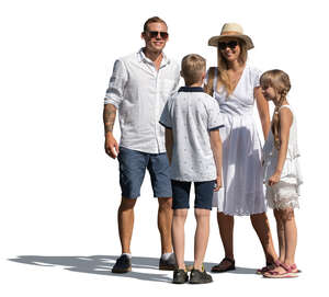 cut out family in white summer clothes standing and talking