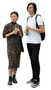 cut out man and woman standing and drinking soft drinks