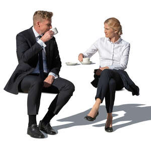 cut out man and woman drinking coffee on a business lunch