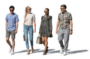cut out group of four people walking and talking happily