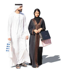 cut out arab man and woman with shopping bags walking