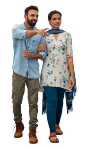 cut out indian couple walking arm in arm