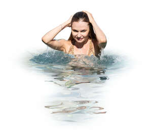 cut out woman standing in the pool in the water