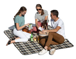 cut out group of three friends having a picnic seen from above