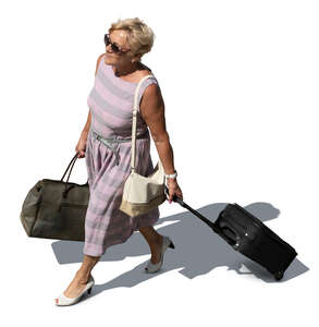 cut out older lady with travelling bags walking seen from above