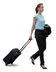cut out young businesswoman with a suitcase walking on the street