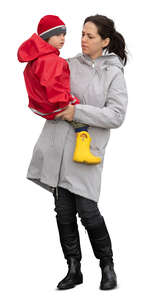 cut out woman standing and holding her son