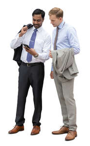 two cut out businessmen standing and looking at a smartphone