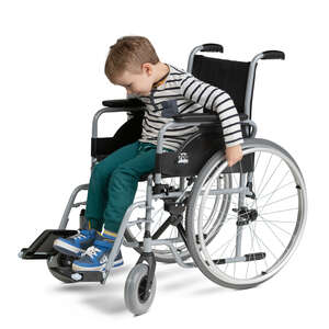 cut out little boy trying to ride a wheelchair