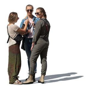 cut out group of three women standing and talking