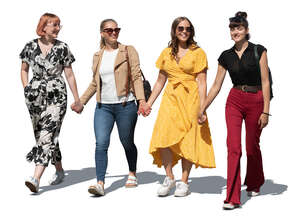 cut out group of girls walking hand in hand