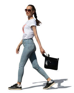cut out woman walking hastily