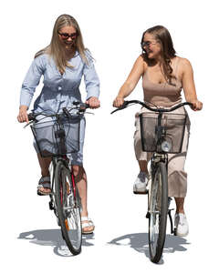 two cut out women cycling side by side