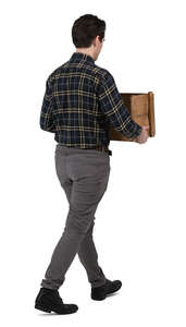 cut out man walking and carrying a wooden crate