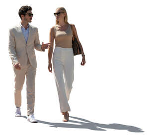 cut out backlit man and woman walking and talking