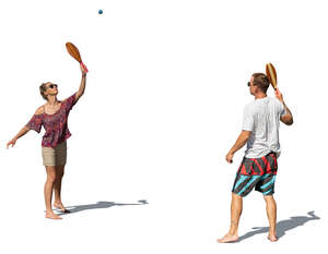 cut out man and woman playing beach tennis