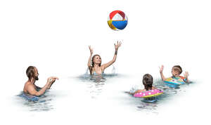 cut out kids and adults playing beach ball in a pool