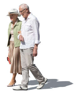 cut out elderly couple  walking arm in arm