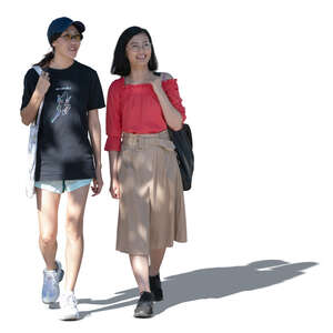 two cut out asian women walking in the tree shade and talking