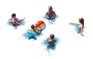cut out family with three kids playing with a beach ball in the pool