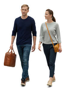 cut out man and woman walking side by side and talking