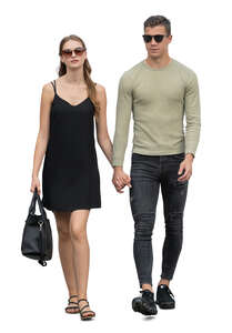cut out man and woman walking hand in hand