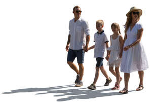 cut out backlit family with two children walking hand in hand