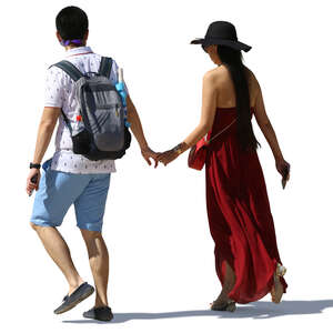 cut out asian man and woman walking hand in hand