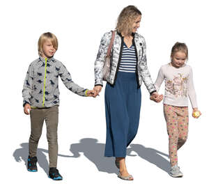 cut out woman with two children walking hand in hand